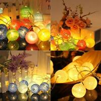 20 COTTON BALL FAIRY LED STRING LIGHTS WEDDING PARTY PATIO CHRISTMAS Xmas DECOR