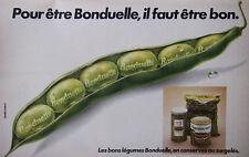 PUBLICITÉ DE PRESSE 1978 FLAGEOLETS VERT BONDUELLE - ADVERTISING