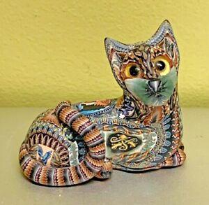 "Jon Stuart Anderson Fimo Creations Kitten Cat Reclining Baby 2007 2"" x 2"" Clay"