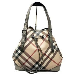 BURBERRY Nova Check XL Bucket bag drawstring authentic  leather trim