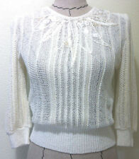 Vintage 80's Hana no Knit womens sweater light romantic pearl 3/4 sleeve XS S