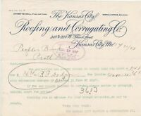 U.S. The Kansas City Roofing and Corrugating Co. Mo. 1904 Paid Invoice Ref 42850