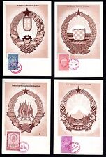 YUGOSLAVIA 1948 COAT OF ARMS SET OF 7 ON 7 MAXICARDS WITH FDC CANCELS 29.NOV.48