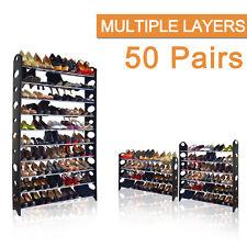 50 Pairs 10 Tiers Capacity Portable Steel Stackable Storage Organiser Shoe Rack