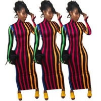 0623185538a20 ❤Women Fall Long Sleeves Vertical Colorful Stripes Bodycon Clubwear Party  Dress