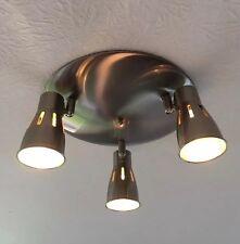Modern Round 3 Way Kitchen Ceiling Brushed Chrome Spotlight Adjust Fit Any GU10