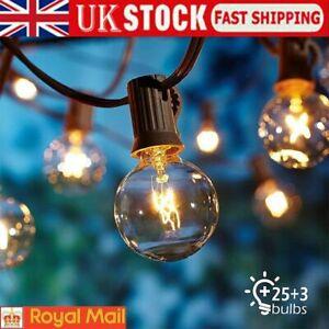 25FT Outdoor Globe String Festoon Lights Mains Powered 25+3 G40 Bulbs Warm White