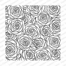 SKETCHED ROSES-Impression Obsession Cover-a-Card Cling Background Rubber Stamp