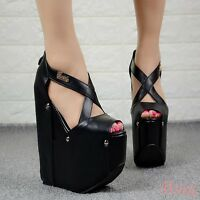 Super High Wedge Heel Clubwear Womens Ladies Peep Toe Cross Strap Sandals Shoes