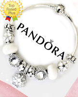 Authentic Pandora Charm Bracelet Silver Bangle White Flower with European Charms