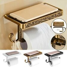 Bathroom Roll Tissue Rack Brass Toilet Paper Phone Holder with Storage Shelf