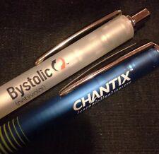 DRUG REP CHANTIX & BYSTOLIC Transluscent RUBBER BODY PENS ~SAME STYLE ~ RARE