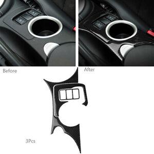 3Pcs For Nissan 370Z 2009-2020 Carbon Fiber Console Water Cup Holder Panel Trim
