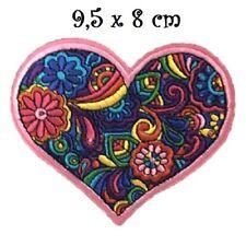 ÉCUSSON PATCH - Coeur Mandala Rose **  9,5 x 8 cm ** Applique thermocollante