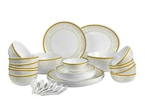 Cello Royal Amber Gold Opal ware Dinner Set, 33 Pieces