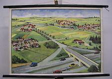 Schulwandkarte Wandkarte Wandbild Straßen Dorf Typen VW Geschenk Jubiläum 90x64