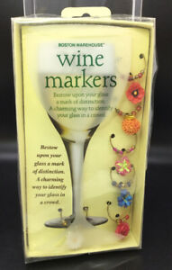 Boston Warehouse Wine Markers Charms - Flower Blooms - Pack Of 6