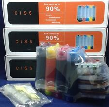 3 x Full Ink system cis CISS for Epson WF-3620 3640 7110 7610 7620 Printer T252