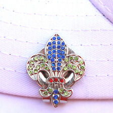 Fleur-de-lis Golf Ball Marker - W/ Colorful Crystals and Hat Clip