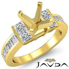 Princess Side Diamond Engagement Ring 18k Yellow Gold 1Ct Asscher Cut Semi Mount