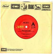 """ACDC AC/DC - WHO MADE WHO / GUNS FOR HIRE (LIVE) - 7"""" 45 VINYL RECORD 1986"""