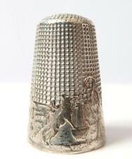Dé à coudre argent massif Fables de La Fontaine RENARD ET HÉRON silver thimble