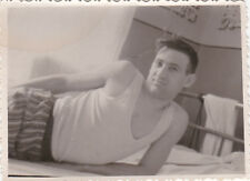 1960s Handsome young man on the bed gay interest old Russian photo