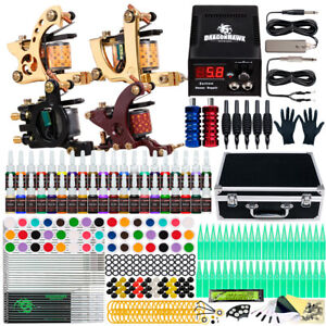 Dragonhawk Tattoo Kit 4 Machine Guns 40 Color Inks Power Supply Needles Grip Tip