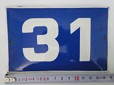 VINTAGE Enameled Porcelain  Tin  Sign House-Door  Number 31 A1