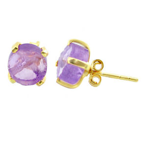 5.65cts Natural Purple Amethyst Rough 925 Silver 14k Gold Stud Earrings T31367