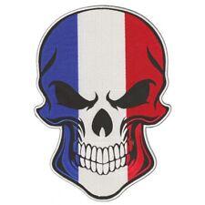 Crâne de Drapeau Français Moto Ecusson Brodé Géant XL Thermocollant Sew 26cm