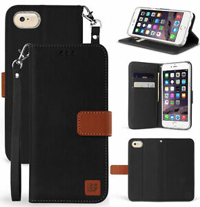 Black/Brown Magnetic Flap Wallet Case Stand + Wrist Strap for Apple iPhone 7/8
