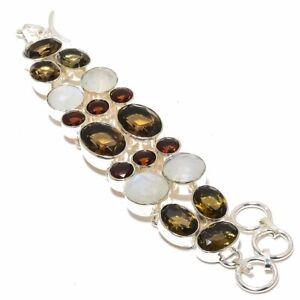 "Indian Rainbow Moonstone & Smokey Quartz 925 Sterling Silver Bracelet 7-8"" W3188"