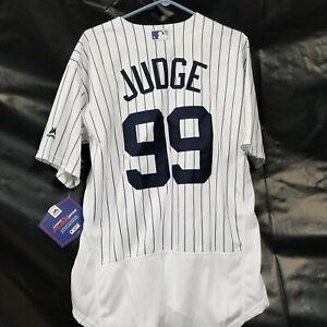 AARON JUDGE #99 Sewn flex BASE Jersey size 40 NY Yankees White Pinstripe M New