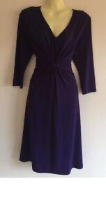 Liz Jordan dress A-Line Purple Stretch 3/4 Sleeves Ladies Size S 8-10