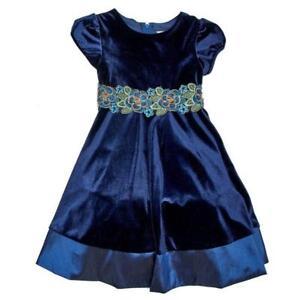 RARE EDITIONS® Little Girls 6 Blue Velvet Floral Embroidered Waist Dress NWT