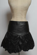ona saez jeans unique ruched petal gathered & cut out leather mini skirt size 2