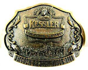 Vintage Kessler American Whiskey Smooth As Silk Alcohol Belt Buckle