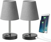 Table Lamp with 2 USB Charging Ports, Bedside Lamp Nightstand, Set of 2