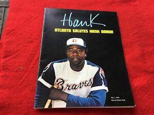 1974 Atlanta Salutes Hank Aaron Feb Marriott Motor Hotel Atlanta Program Braves