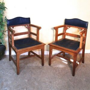 Pair of Victorian Gothic Arts & Crafts Oak Desk Chairs