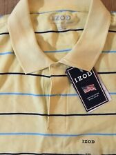 New Izod 100% Prima Cotton Polo XL Yellow with Blue Stripes Short Sleeves