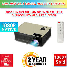 Native 1080P 8000 Lumens SLR Lens LED Projector Media Home Outdoor Cinema HDMI