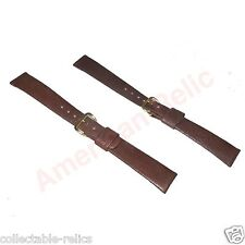 2X Harline Genuine Leather Watch Band Classic Strap Brown Ladies Grain 16mm NEW