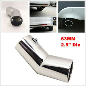 63MM Auto Car Stainless Steel Rear Round Muffler Tail Exhaust Pipe Tube Exterior