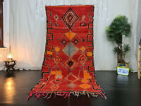 "Vintage Moroccan Tribal Handmade Rug 4'1""x8'4"" Geometric Red Berber Wool Carpet"