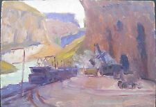 ARMENIAN ART,Impressionist Painting,SOVIET RAILROAD by HARTYUNYAN,Armenia,1957