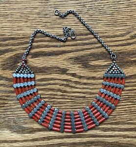 ANTIQUE INDIAN SILVER AND CORAL TRIBAL COLLAR NECKLACE