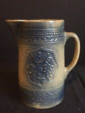 Antique Salt Glazed Stoneware Pitcher Cluster of Grapes