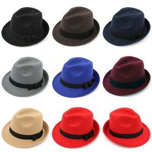 Fashion Adult Kids Wool Blend Fedora Cap Trilby Hat Black Ribbon Band 2 Sizes